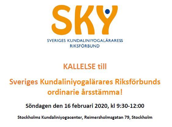 Inbjudan till SKY:s årsmöte 16 februari 2020
